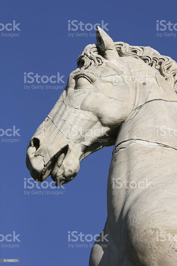 Ancient sculpture  of a horse stock photo