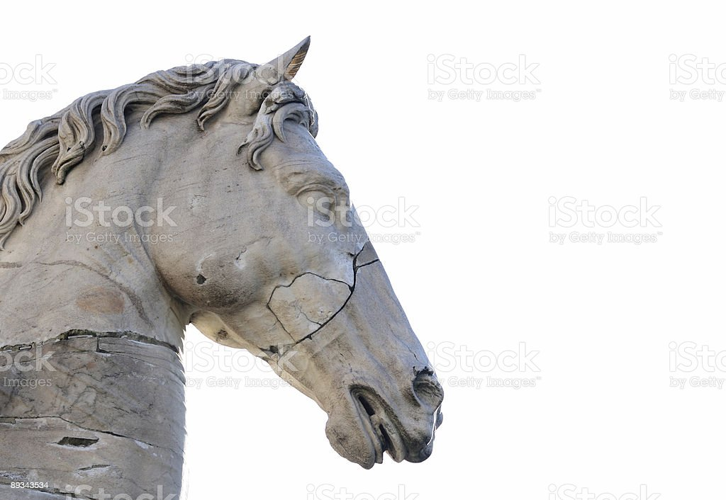 Ancient sculpture  of a horse, Rome Italy stock photo