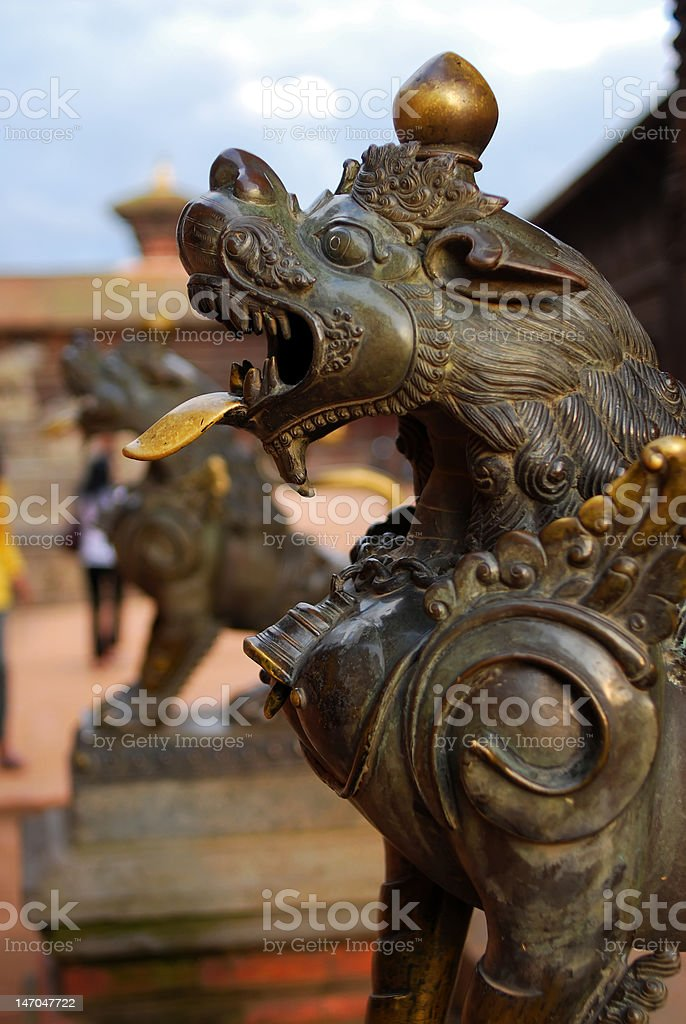 ancient sculpture of durbar square,nepal stock photo