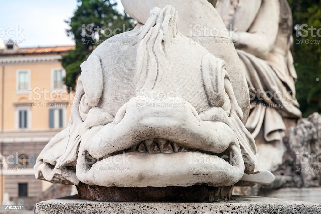 Ancient sculpture on the Piazza del Popolo stock photo