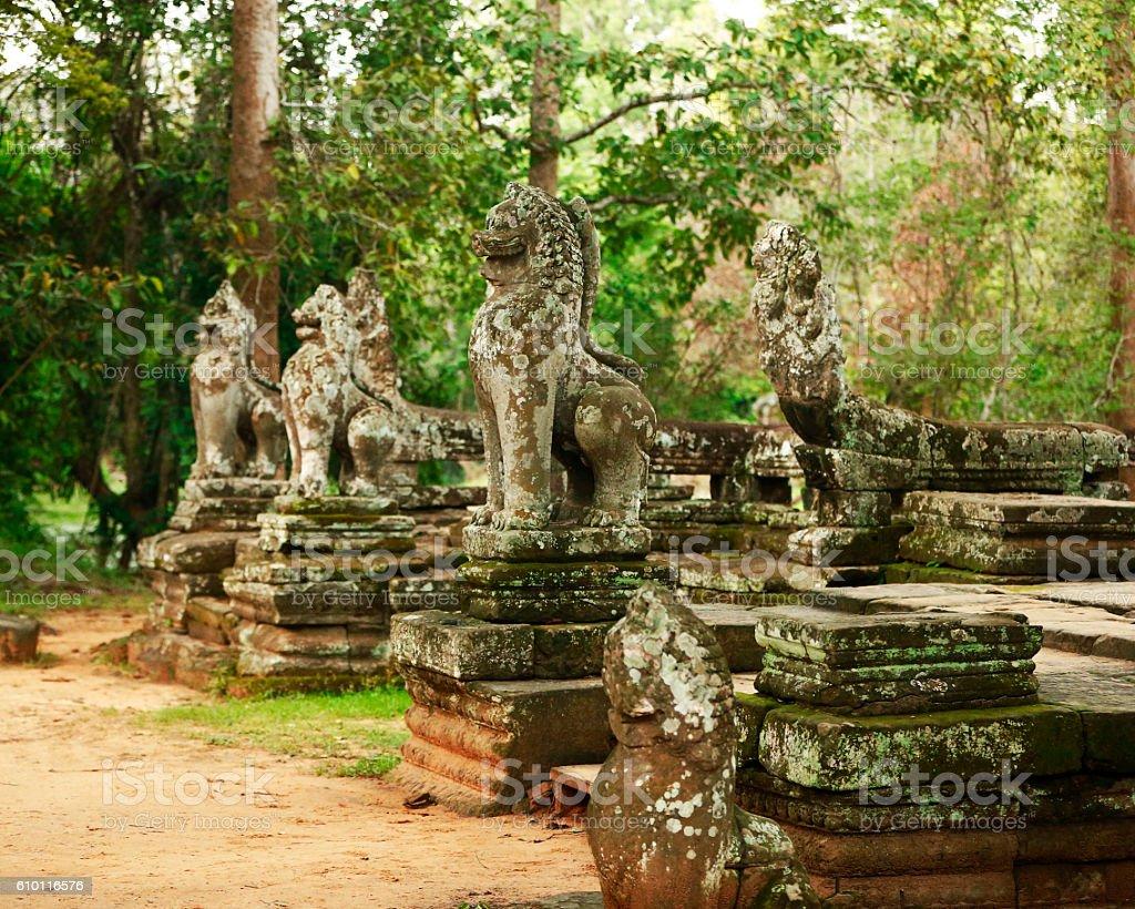 Ancient Sculptures in Cambodia stock photo