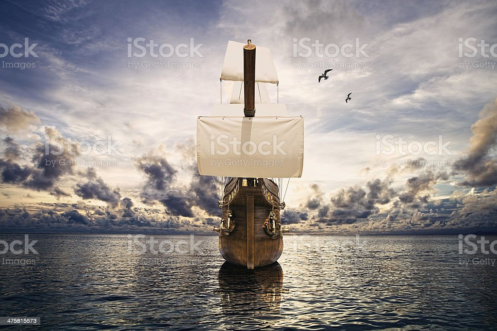 ancient ship in the sea royalty-free stock photo