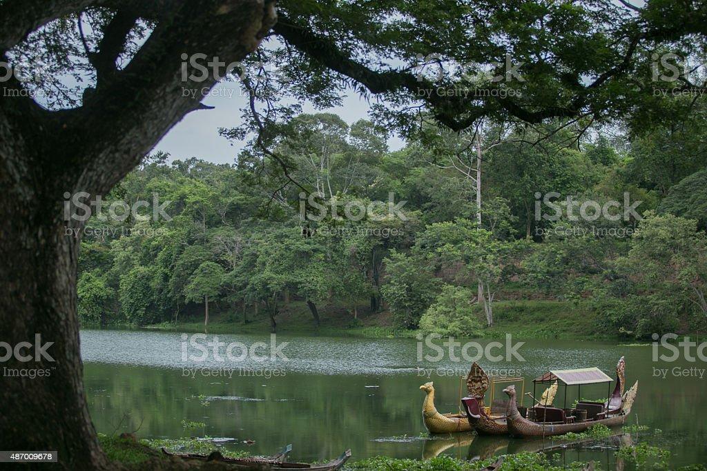 ancient ship near south gate of angkor thom stock photo