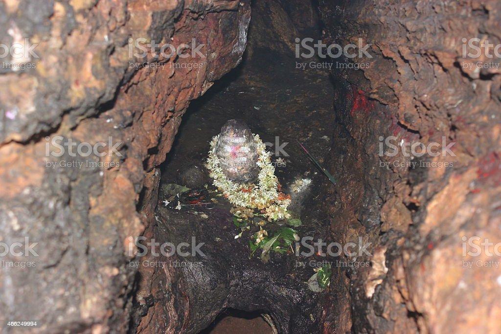 Ancient Shivalinga in Akka Mahadevi caves stock photo