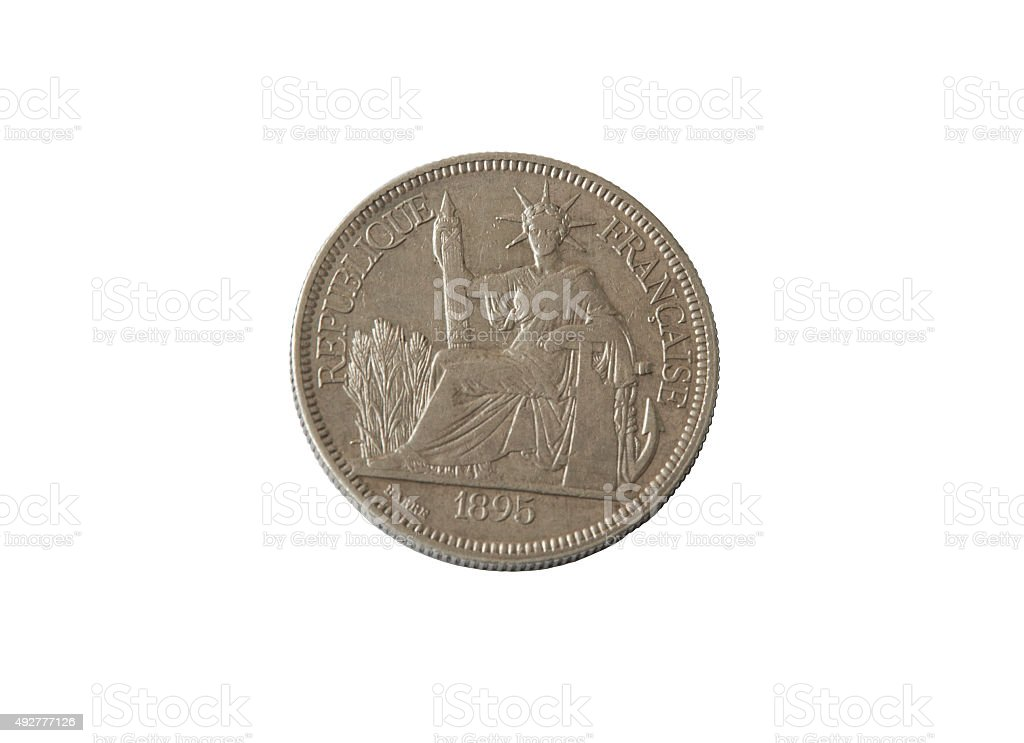 ancient silver coin, commercial Piastre  French Indochina, isolate stock photo