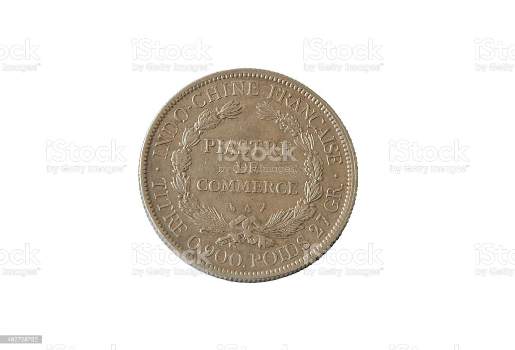 ancient silver coin, commercial Piastre , French Indochina, isolate  white background. stock photo