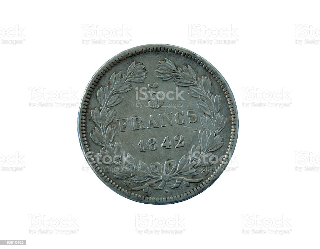 ancient silver coin France  francs  on  white background stock photo