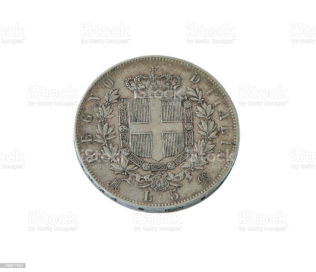 ancient silver coin Italy  lire , old money stock photo