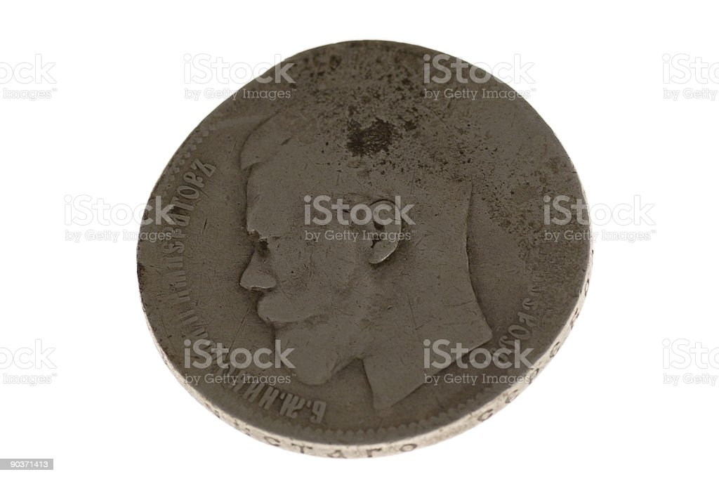 Ancient silver coin ruble royalty-free stock photo