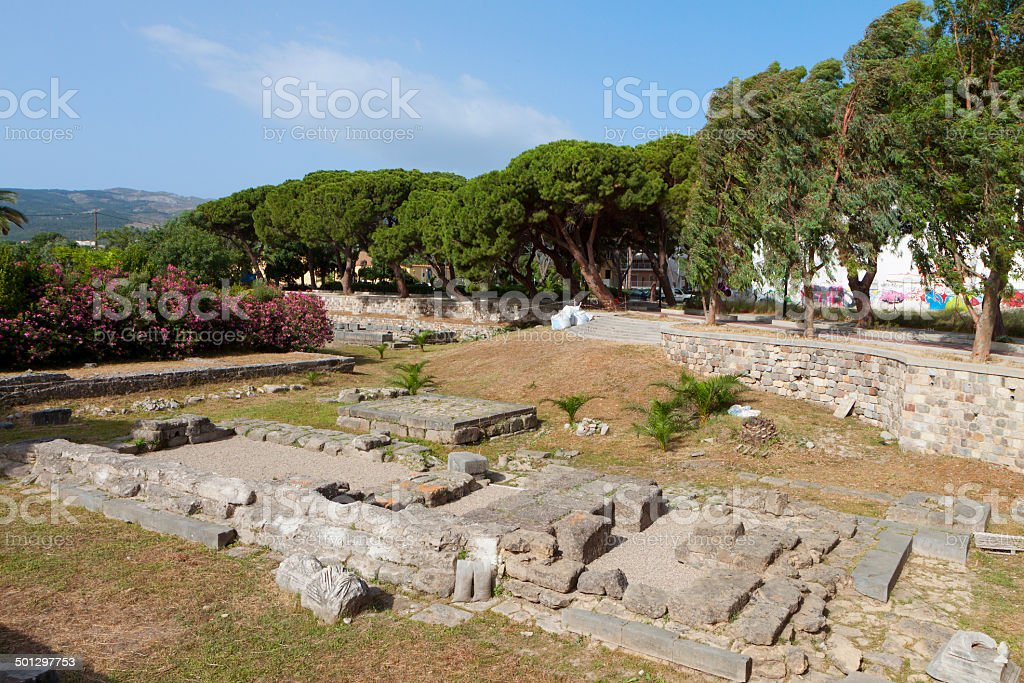 Ancient site at Kos island in Greece stock photo