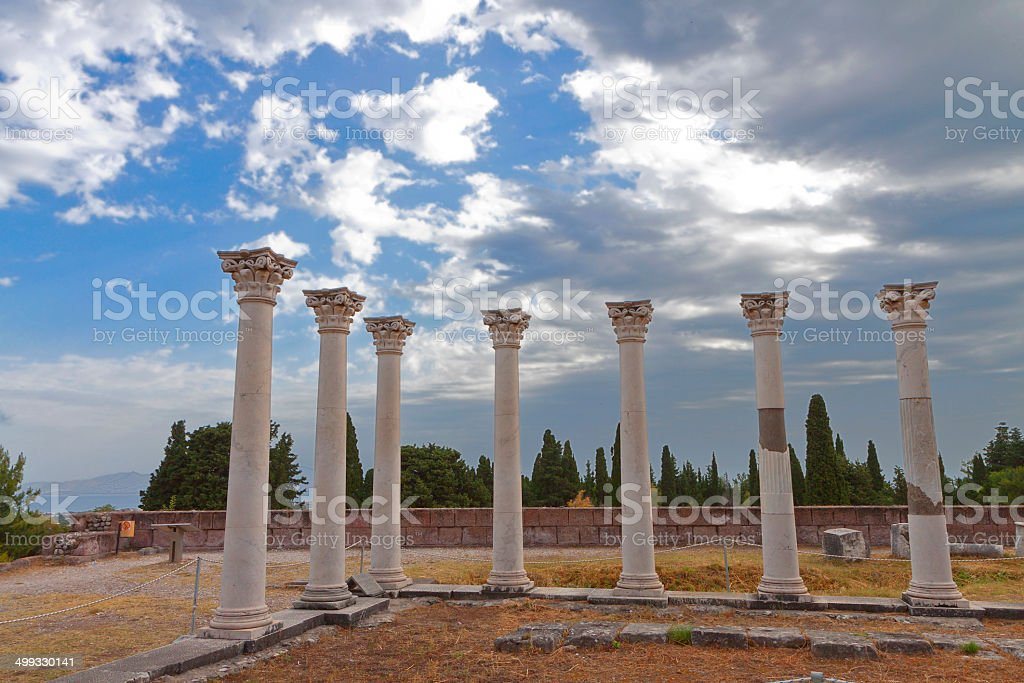 Ancient site of Asclepio at Kos island in Greece stock photo