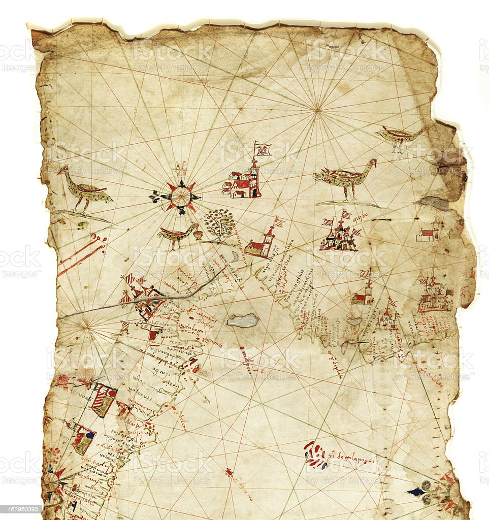 Ancient Spanish map of South America stock photo