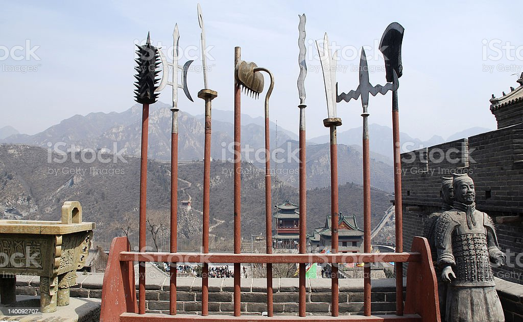 ancient spears and soldiers on Great Wall(China) stock photo