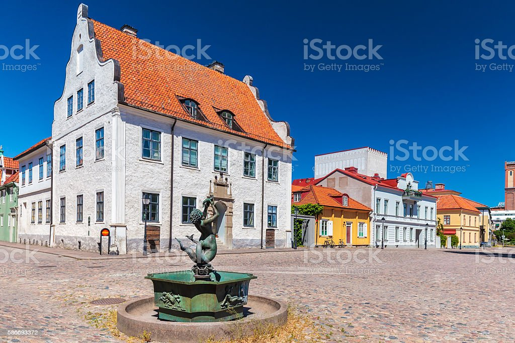Ancient square in the city of Kalmar, Sweden stock photo