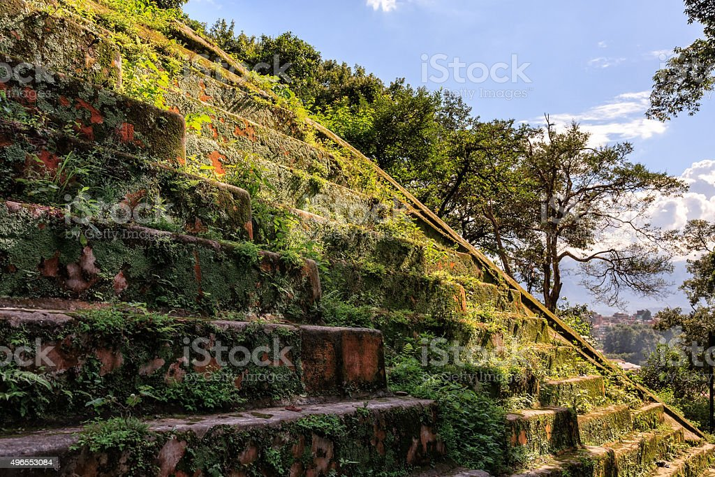 Ancient staircase Pashupatinath Temple, Nepal stock photo