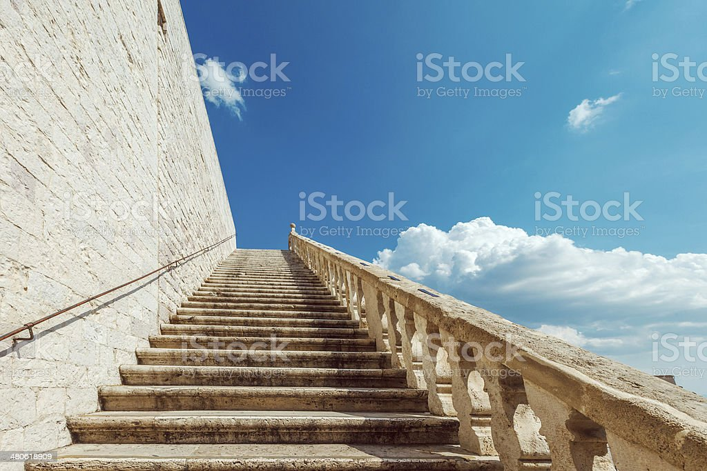 Ancient Stairs, Assisi, Italy stock photo