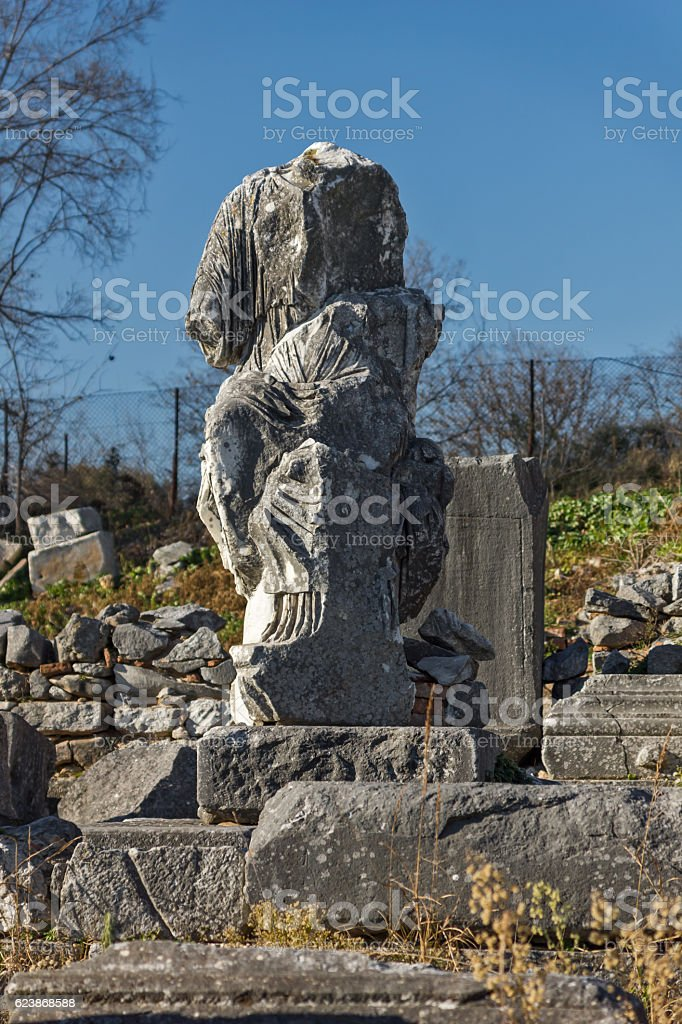Ancient Statue in archeological area of Philippi,  Greece stock photo