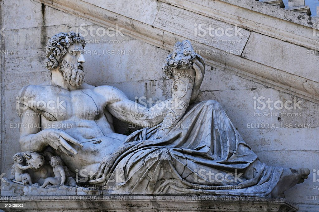 Ancient Statue of the Tiber River God stock photo