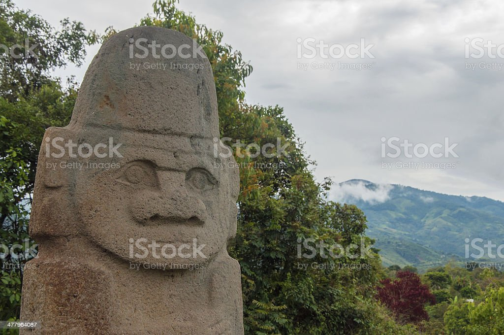 Ancient Statue with Trees stock photo