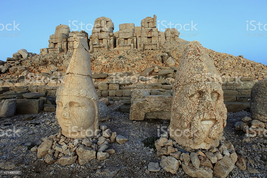 Ancient statues at Mount Nemrut stock photo