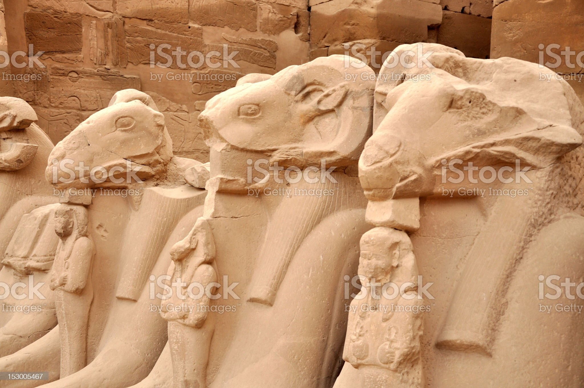 Ancient statues in Karnak royalty-free stock photo