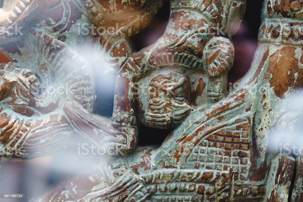 ancient statues of wild tribes. decorations of wood stock photo