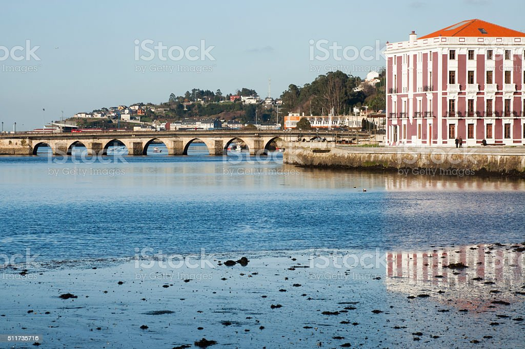 Ancient stone bridge and townscape, Viveiro, Lugo, Galicia, Spain. stock photo