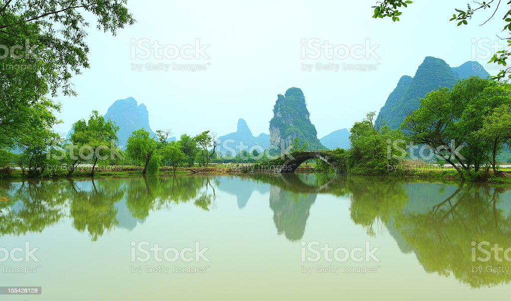 Ancient stone bridge in Guilin,Guangxi Province,China stock photo