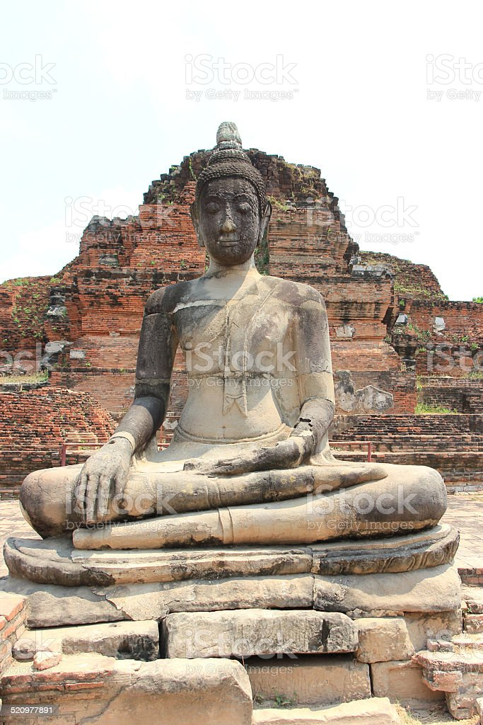 Ancient Stone Buddha at Wat Mahathat Temple in Ayudhaya stock photo