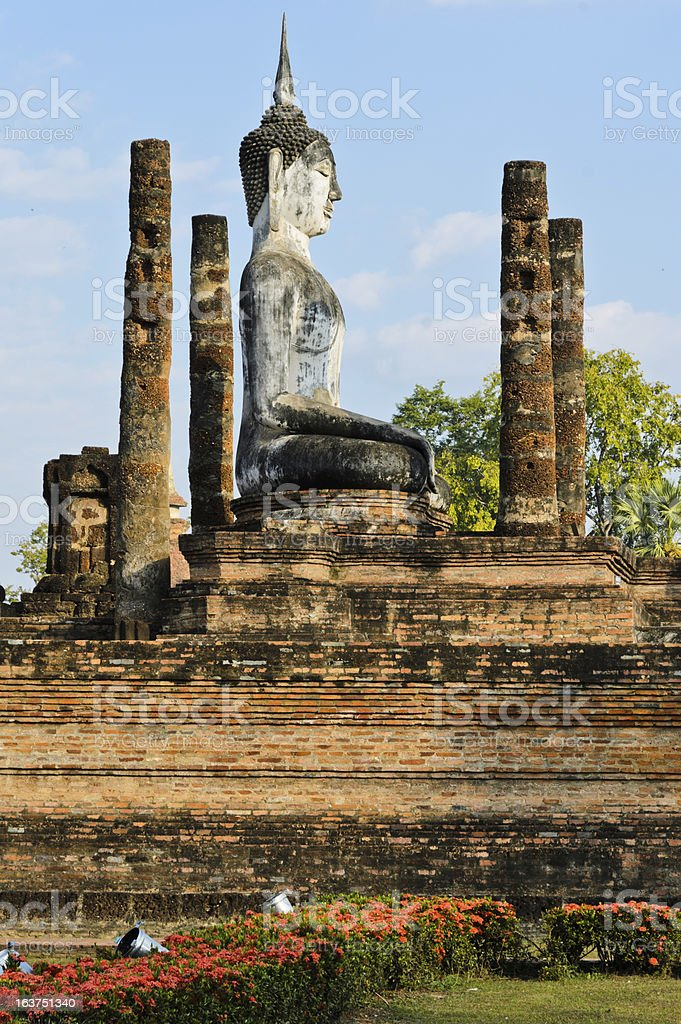 Ancient stone Buddha stock photo