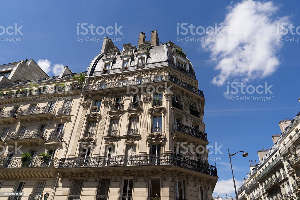 ancient stone building in Paris, France stock photo