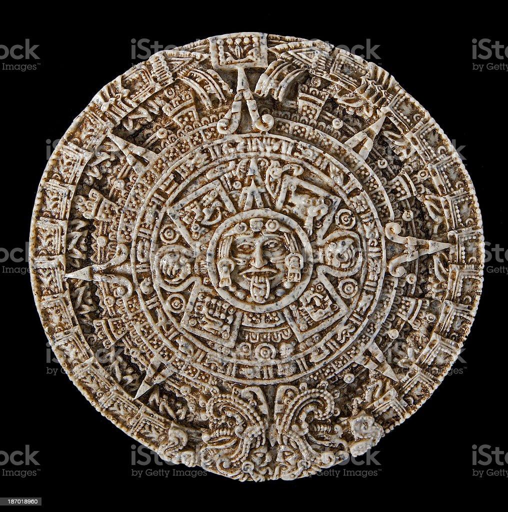 Ancient stone caledar stock photo