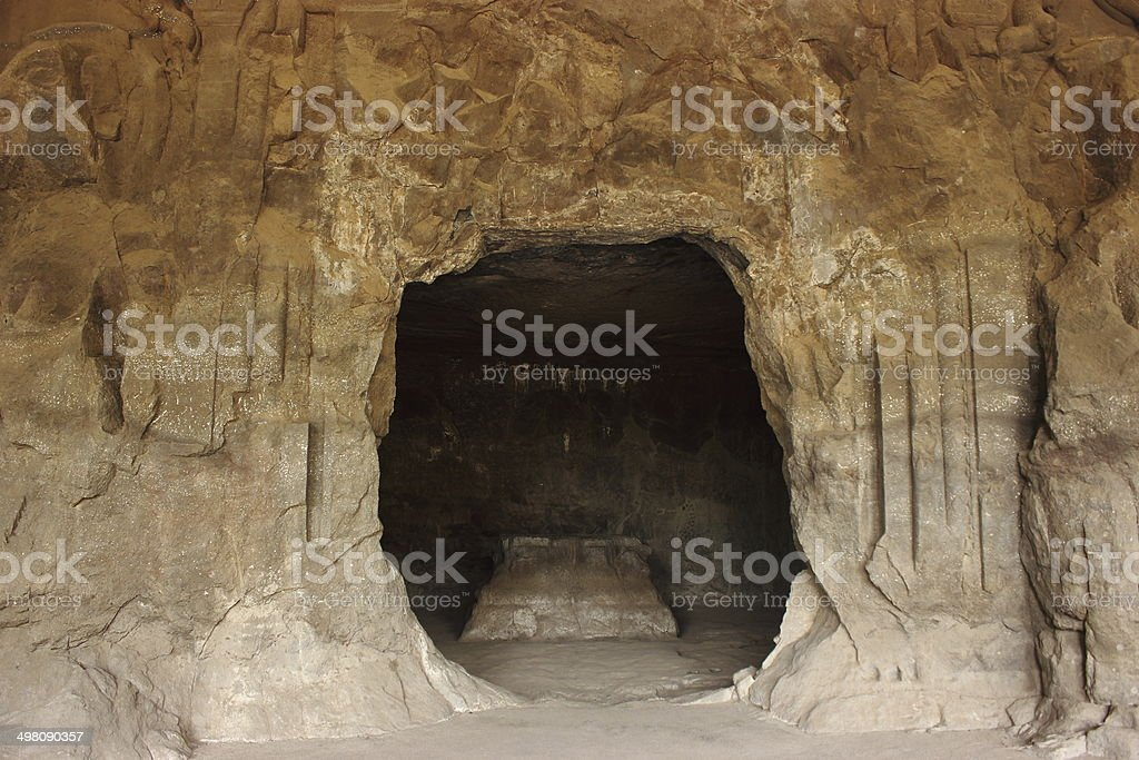 Ancient stone carved gate in elephanta caves, Mumbai, India royalty-free stock photo