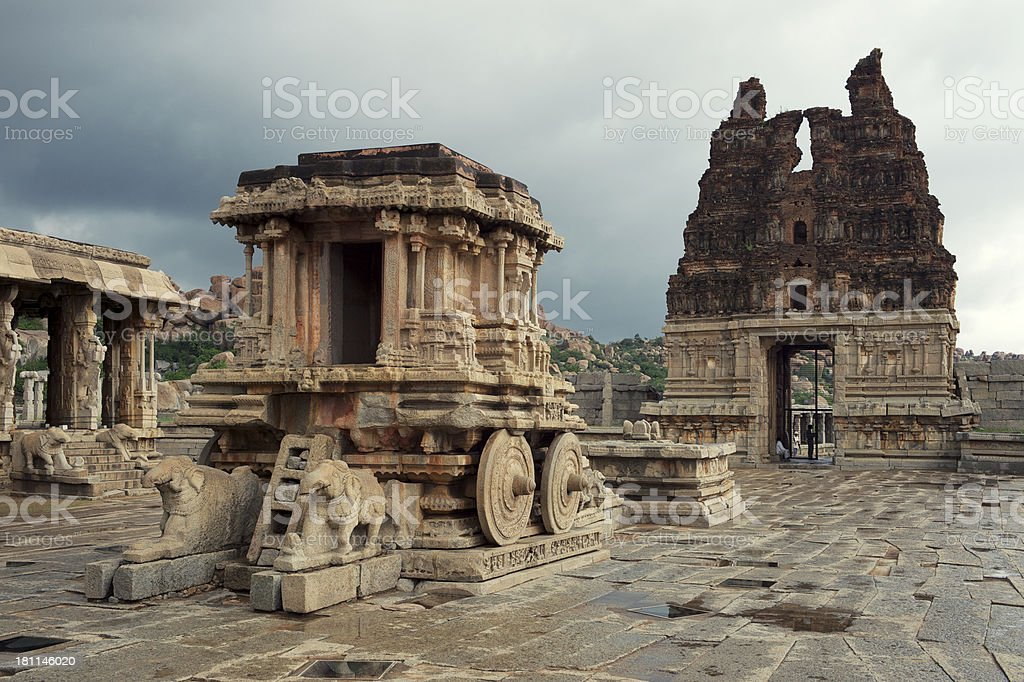 Ancient Stone Chariot Temple Kallina Ratha Hampi India stock photo