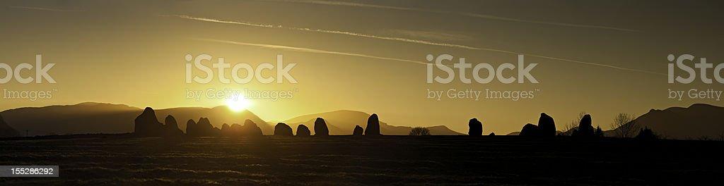 Ancient stone circle sunset Castlerigg Lake District stock photo