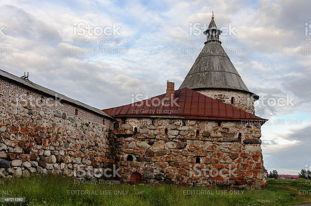 Ancient stone wall and tower of Solovetsky monastery stock photo
