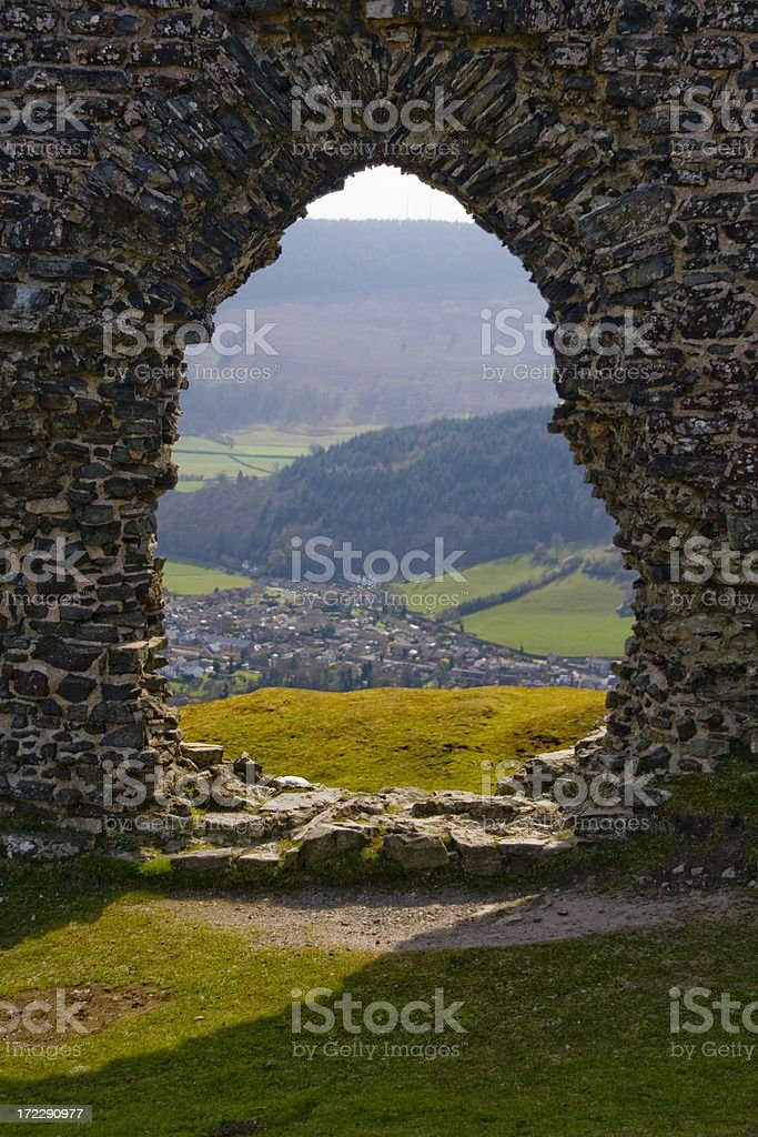 Ancient stone window frame stock photo