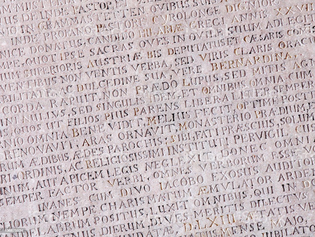 Ancient stone with Latin text royalty-free stock photo