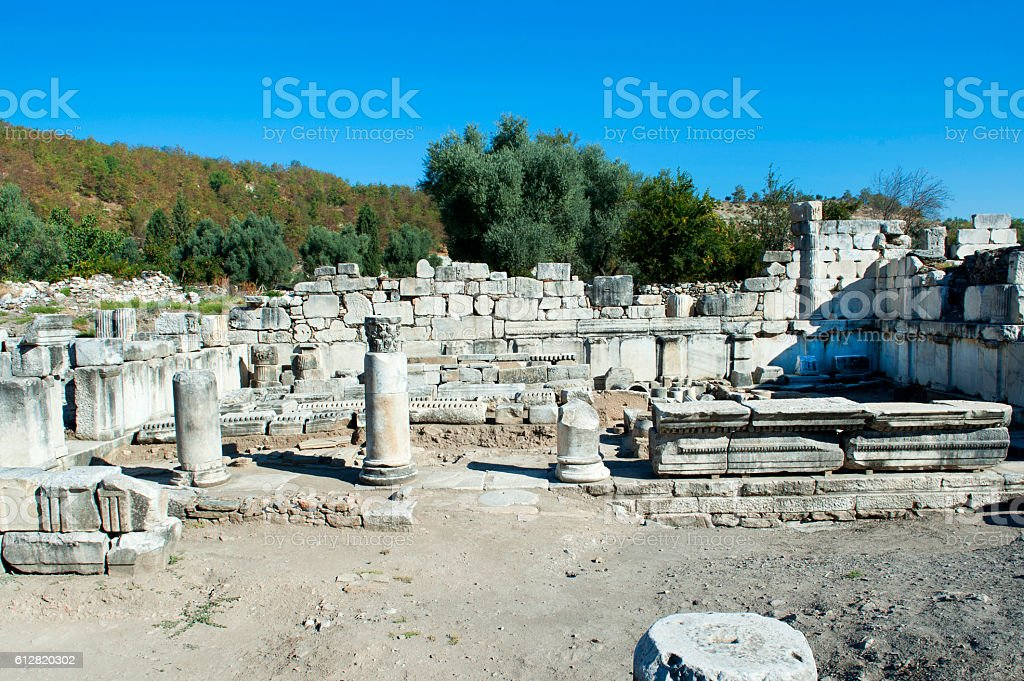 Ancient stones and column in Stratonikeia stock photo