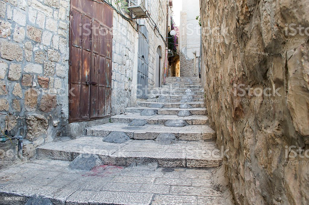 Ancient street in Jerusalem stock photo