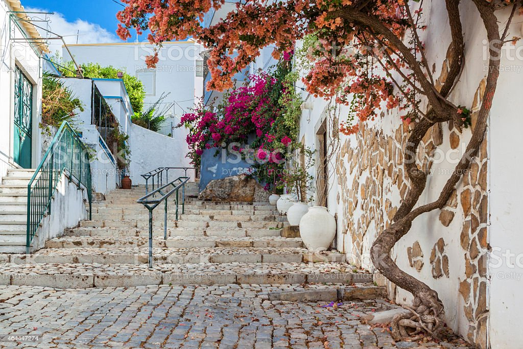 Ancient street village Estoi. Portugal, Faro. stock photo