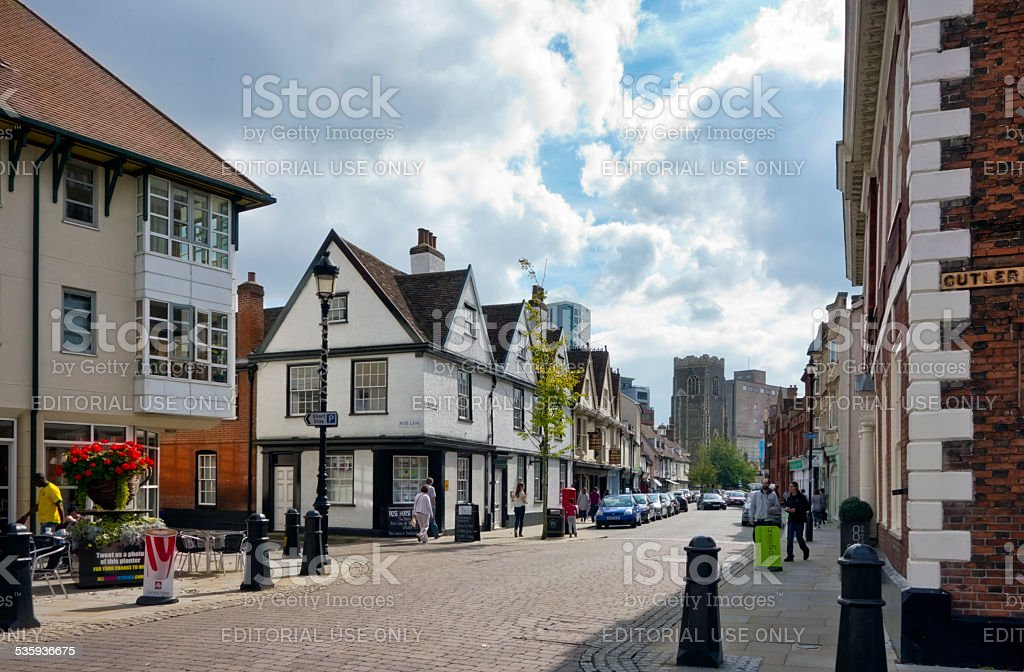 Ancient streets in Ipswich, Suffolk stock photo