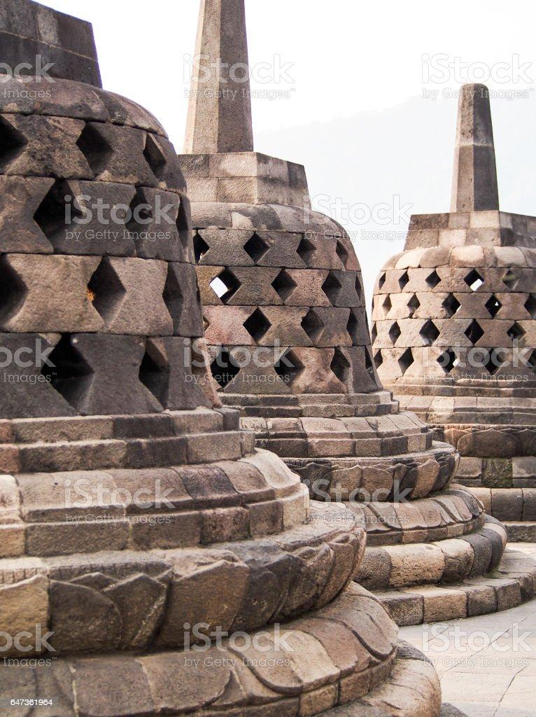 Ancient Stupas at Borobudur Temple near Yogyakarta Indonesia stock photo