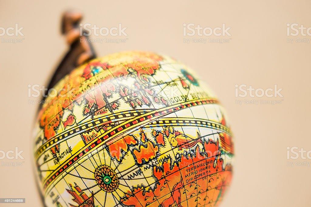 Ancient style small globe stock photo