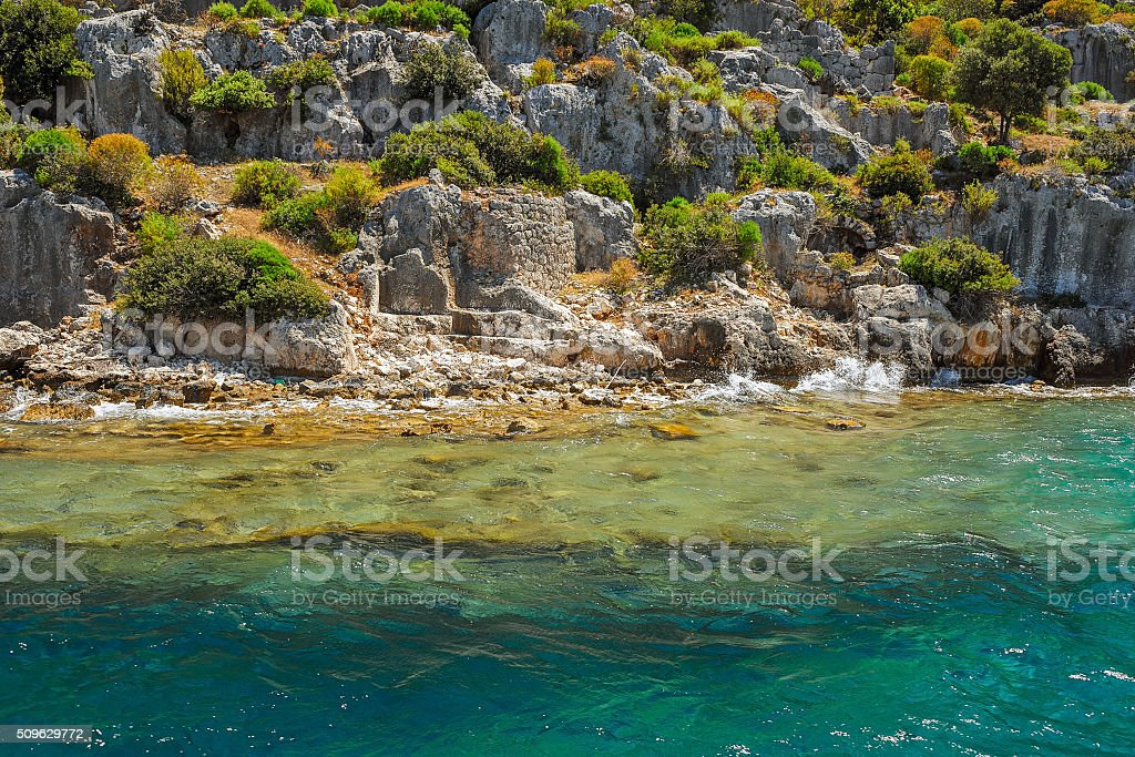 Ancient submerged city in Kekova stock photo