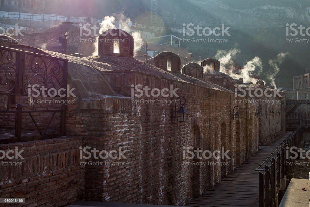 ancient sulfuric Baths in Abanotubani, famous sightseeing of Tbi stock photo