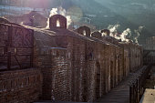 ancient sulfuric Baths in Abanotubani, famous sightseeing of Tbi