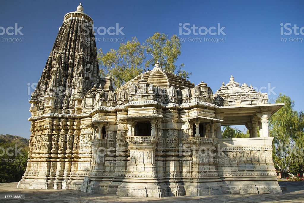 Ancient Sun Temple in Ranakpur, Rajasthan, India stock photo