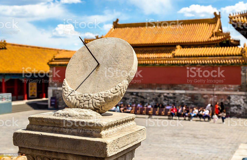 Ancient sundial in the Forbidden City - Beijing stock photo