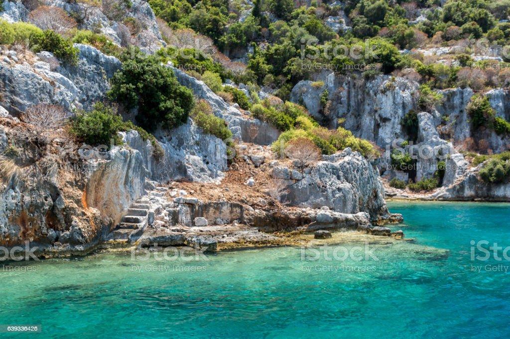 Ancient sunk city in Kekova, Kas, Antalya stock photo